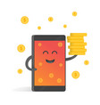 smartphone concept of money earnings a lot of vector image vector image