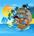 three pirates in boat near island vector image vector image