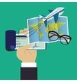 travel checkbook map glasses green background vector image
