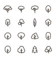 trees signs black thin line icon set vector image