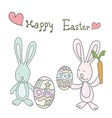 two rabbits easter holding cute eggs and carrot vector image