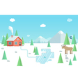 Winter landscape with wild animals forest house vector image vector image