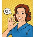 Woman says okay success pop art comics retro style vector image
