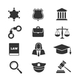 Justice law police icons vector image