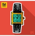 Sketch style hand drawn clock flat icon vector image
