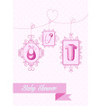 Baby shower girl hanging elements vector image