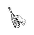 bottle of wine in hand vector image vector image