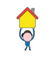 businessman character walking and carrying house vector image vector image