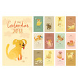 calendar 2018 cute monthly calendar with vector image vector image