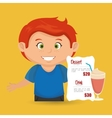 cartoon boy menu food drink vector image vector image
