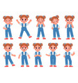 cartoon cute little girl face emotions vector image vector image