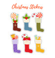 christmas stickers with stockings socks vector image