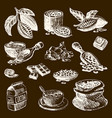 cocoa products handdrawn sketch doodle vector image