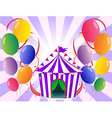 Colorful balloons near the violet circus tent vector image vector image