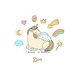 cute cartoon unicorn with wings vector image vector image
