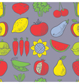 Cute fruits and vegetables seamless pattern vector image vector image
