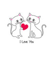 cute kittens valentine vector image vector image
