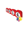 dial 2014 with christmas balls part two vector image vector image