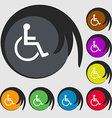 disabled icon sign Symbol on eight colored buttons vector image