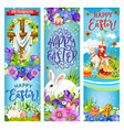 easter cross with eggs bunnies chick and flowers vector image vector image