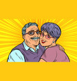 elderly couple in love grandparents vector image