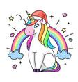 fantasy animal horse unicorn flat style vector image vector image