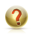 faq golden ball sign question icon vector image vector image