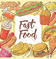 Fast food hand drawn background with burger