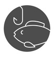 fishing solid icon bait with fish vector image vector image