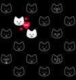 funny seamless pattern with smiling cats faces vector image