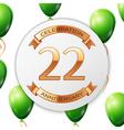 Golden number twenty two years anniversary vector image vector image