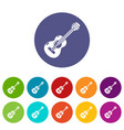 guitar icons set color vector image