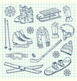 hand drawn winter sports equipment on vector image vector image