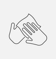 hand with cleaning napkin line icon vector image vector image