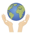 Hands holding earth globe with care vector image