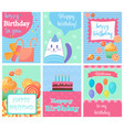 happy birthday collection set of invitation cards vector image
