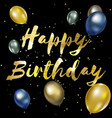 Happy birthday greeting card with golden stylish vector image