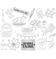 happy thanksgiving day cartoon icons and objects vector image vector image