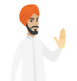 hindu businessman showing palm hand vector image vector image