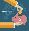 Human Hand and Moneybox Piggy in flat design style vector image