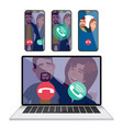ip telephony laptop display screen mobile vector image vector image
