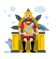 king on throne flat style colorful cartoon vector image vector image