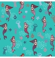 Little cute mermaids pattern vector image