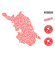 love mosaic map of jiangsu province and grunge vector image vector image