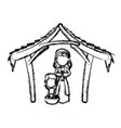 manger virgin mary and baby jesus in hut image vector image vector image