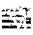 movie action hero car motorcycle chase scene of vector image