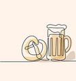 oktoberfest beer mug and pretzel vector image vector image
