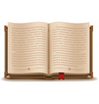 Open book with text and red bookmark vector image