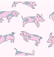 pink spotted little funny pigs seamless pattern vector image vector image