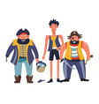 pirates people with man holding bucket with fish vector image vector image